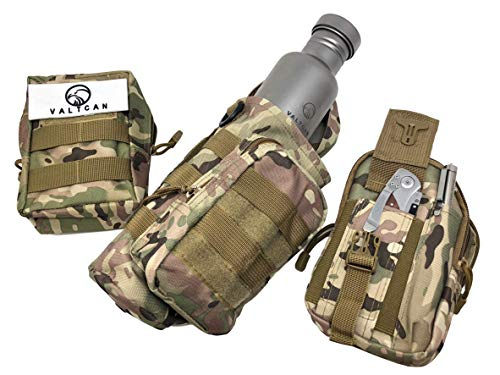 Valtcan Tactical Molle Bags Water Bottle, Mobile Phone, and Camping Hiking Pouches 3 Pack Set by Valtcan (Image #1)