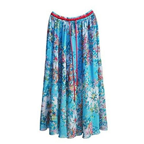 Kaxuyiiy farfalla spiaggia Boemia vita partito Skirt a Long estate pieghe maxi Fioritura Blu in gonna lunga fiore Donne elastico IqYFwrIf
