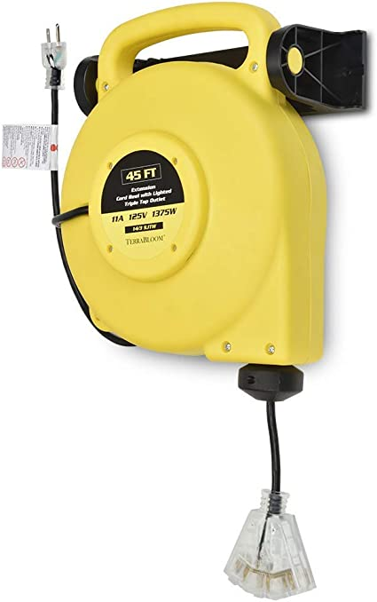40 Ft Retractable Extension Cord Reel 2 In 1 Mountable /& Portable Power Cord Reel with 3 Electrical Outlets 12//3 SJTW Heavy Duty Yellow Cable