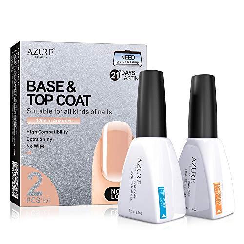 (Base Coat No Wipe Top Coat Set (2x12ml)for UV LED Gel Nail Polish LED Nail Lamp 0.4 Ounce Big Capacity by AZUREBEAUTY)