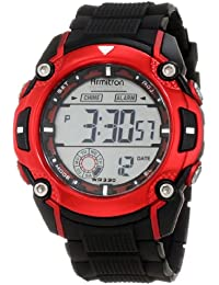 Men's 40/8272RED Large Metallic Red Accented Black Resin Strap Chronograph Watch