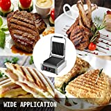 Happybuy 110V Commercial Sandwich Press Grill 1800W Electric Panini Maker Non-Stick 122°F-572° Temp Control Half Grooved Plates for Hamburgers Steaks Bacons, Professional Cooking Equipment