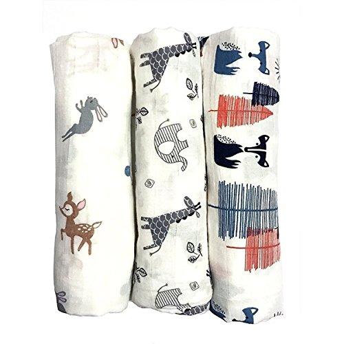 AM 3 Piece Baby White Blue Red Forest Friends Crib Blanket, Newborn Grey Safari Nursery Bedding, Jungle Rabbit Dear Giraffe Elephant Fox Woods Swaddle Cozy Soft Cute Adorable, Cotton