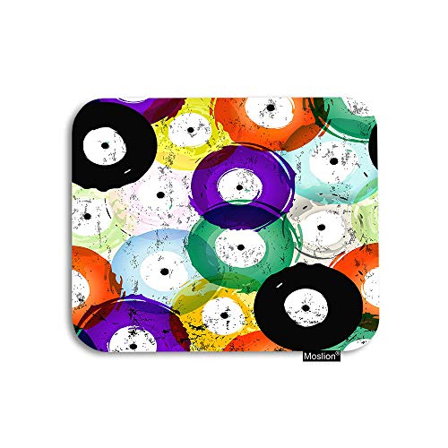 (Moslion Music Mouse Pad Vintage Colorful Vinly Records Disc Graffiti Doodle Splash Gaming Mouse Pad Rubber Large Mousepad for Computer Desk Laptop Office Work 7.9x9.5 Inch)