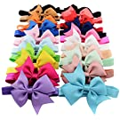 "Qandsweet 20pcs Baby Girls Headbands and Forked Tail Bow Photography (20 Colors L-3.5"" W-2.7"" Bow)"
