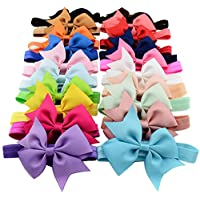 Qandsweet 20pcs Baby Girls Headbands and Forked Tail Bow Photography (20 Colo...