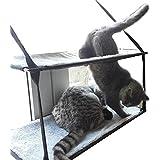 baolizhen Cat window perch Sunny Seat Window-Mounted Cat Bed (Double, gray)