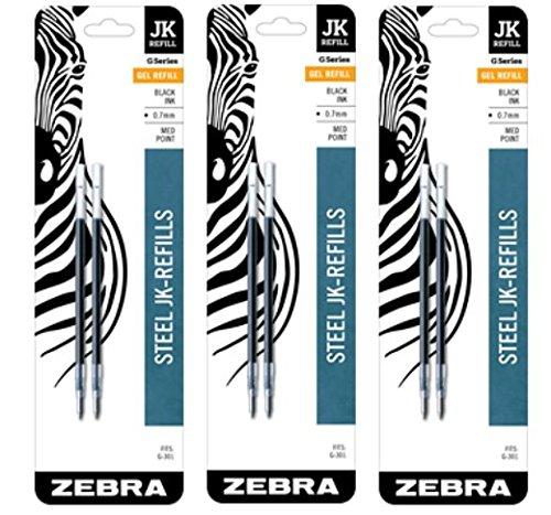 Zebra JK-Refll G301 Retractable Gel Pen Refills, 0.7mm, Medium Point, Black Ink, Pack of 6