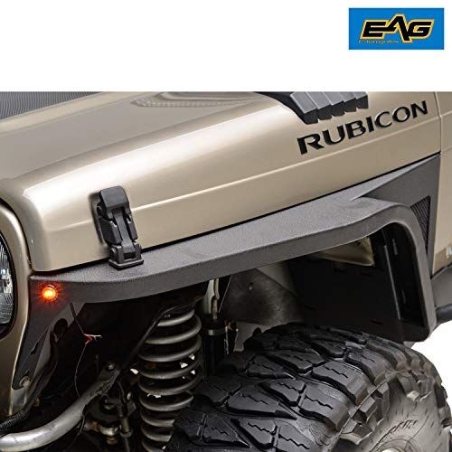 EAG Front Fender with Flair and LED Eagle Lights Fit for 97-06 Jeep Wrangler TJ