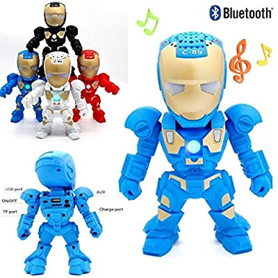 RiderTech New Iron Man Wireless Bluetooth Speaker C-89 Mini Portable Children Style LED Light Speakers Stereo Music Player Support FM TF For Smartphones Tablets PC All Bluetooth Devices(Blue)