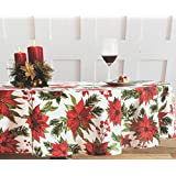 Nicole Miller Holiday Poinsettia Tablecloth, 60-by-84 Inch Oblong Rectangular