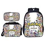 Pokemon Backpack for Boys, Kids 3D Cartoon Rainbow Pikachu School Bags Lunch Box Pencil Case Set Teen Girls Pokemon Go Lunch Bags Men Travel Rucksacks Women Pokeball Laptop Backpacks (16SET-068)