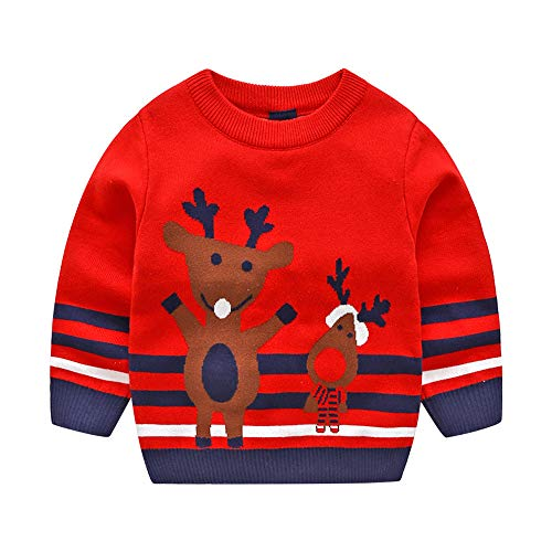 Price comparison product image Specials!! Baby Girls Boys Christmas Sweater- Xmas Deer Striped Jacquard Long Sleeve Knitted Tops Sweatshirt Outfits (Red,  2-3 Years)