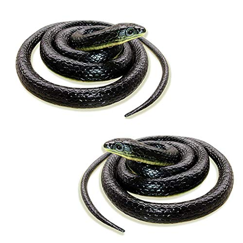 Ktyssp 2 PCS Realistic Fake Rubber Toy Snake Black Fake Snakes Long April Fool's Day -