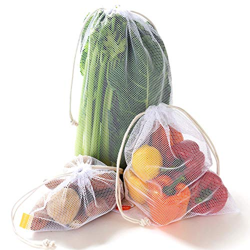 NZ Home Eco Reusable Produce Bags, Washable, See Through Mesh, Tare Weight, Cotton Drawstrings, Premium Quality Large, Medium, Small Sizes 5 Pack (Mesh) from NZ home