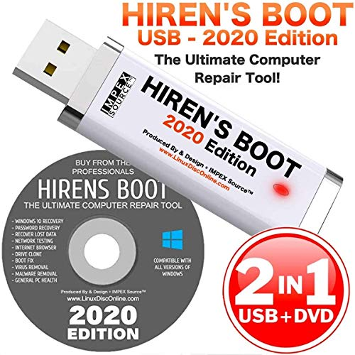 Hiren's Boot CD USB PE x64 bit Software Repair Tools Suite 2020 latest version 16.3 Best PC Computer Repair Recovery Windows 7, 8, 8.1 and 10 USB