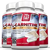 BRI Nutrition L-Carnitine - 180 Count 500mg Capsules - 1000mg Servings