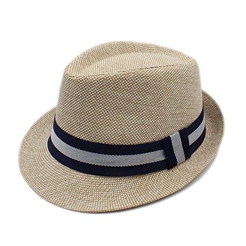 WANGQUAN Summer Women Men Linen Beach Sun Hat for Graceful Lady Hat (Color : TAN, Size : 56-58CM)