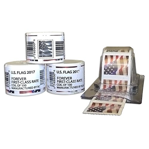 100 Forever Stamps - Sealed Rolls - Coil + Reusable Postage Dispenser - Keeper (300)