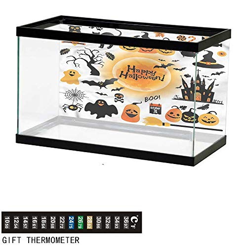 bybyhome Fish Tank Backdrop Halloween,Happy Ghost,Aquarium Background,24