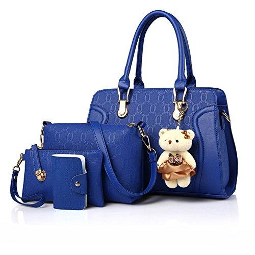pour cuir sac de de main sacs porté femmes sac Sac femme sac à Pochette Bleu Epaule bandoulière PU 4 Lot à à de main Teruixing YzqwAA