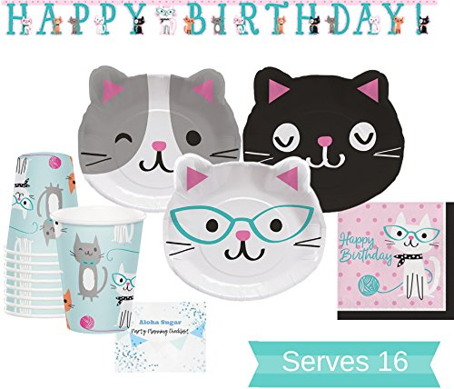 Cat Party Supplies Set - Dinner Plates, Cups, Napkins and Birthday Banner for 16 People - Cat Party Decorations Perfect for Birthday Party and All Fun Events!