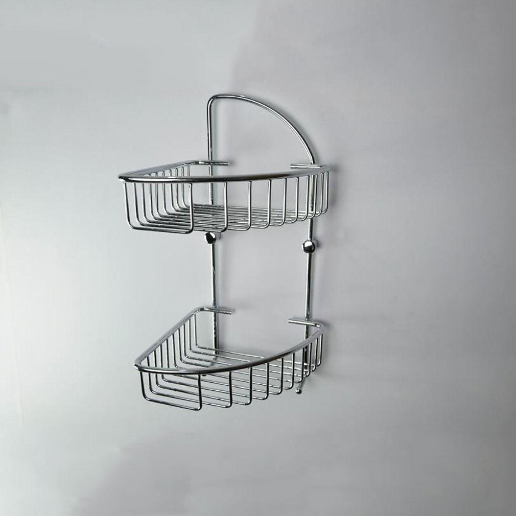 Bathroom Storage Shelf,Brass Chromed Lavatory Double Layer Triangular Rack,Hotel Storage Basket,Wall Mount Corner Frame
