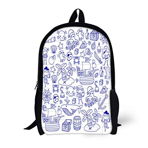 Pinbeam Backpack Travel Daypack Children Playing Pirates Boys and Girls Kindergarten School Waterproof School Bag ()