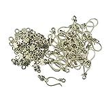 MonkeyJack 50 Sets Tibetan Style Antique Silver S Hook and Eye Clasps Jewelry Findings