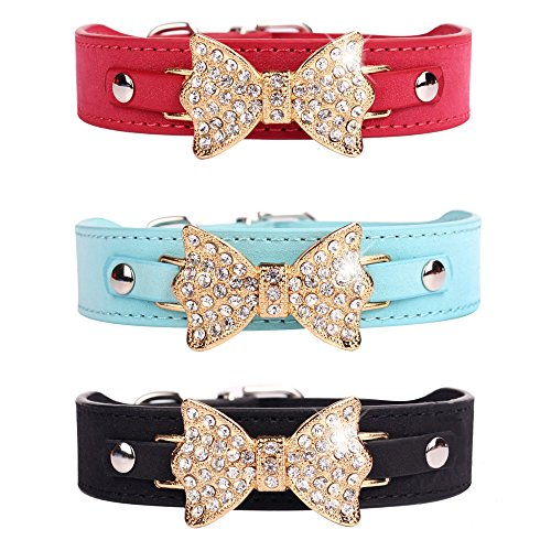 (EASTOP Dog Collars for Small Dogs Girl Bow Bling Red(Small, Black))