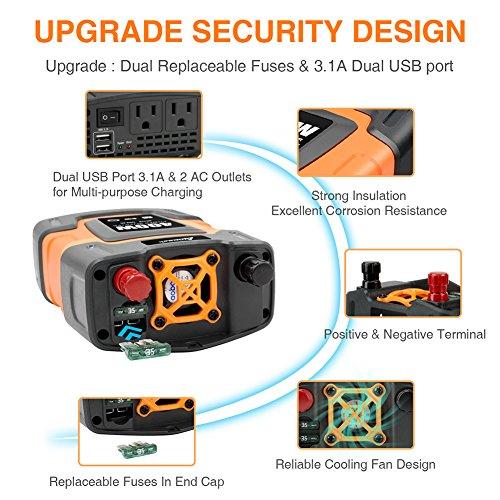Ampeak 400W Power Inverter DC 12V to 110V AC Car Inverter with 3.1A Dual USB Converter by Ampeak (Image #3)