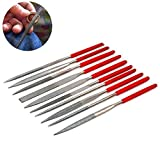10pcs Mini Diamond File Set for Mental, Jewelry, Woodworking and Stone, 150 Grit (140 x 3mm)