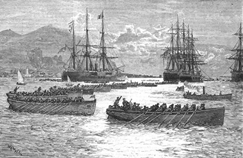 EUROPE. The British fleet in the Mediterranean-A Regatta off Palermo - 1880 - old antique vintage print - engraving art picture prints of Europe Ships - The - Antique Engraving 1880