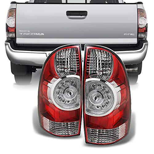 - For 2005-2015 Toyota Tacoma Pickup Truck Red Clear Rear Tail Lights Brake Lamps Replacement Pair Left + Right