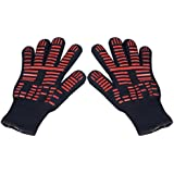 "TTLIFE BBQ Grilling Cooking Gloves - 932°F Extreme Heat Resistant Gloves - 1 Pair (Short) - 11"" Long for More Flexible"