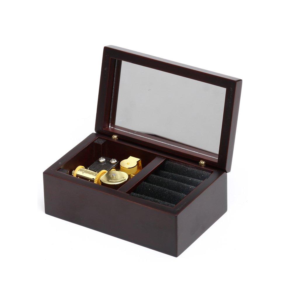 Carillon in legno a molla, 18 note, con specchietto, melodia Elfen Lied, movimento musicale in oro, modello M33, in scatola rivestita di velluto bordeaux Laxury M33-H048-claretv