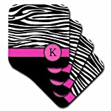 3dRose cst_154282_1 Letter K Monogrammed Black and White Zebra Stripes Animal Print with Hot Pink Personalized Initial Soft Coasters, Set of 4