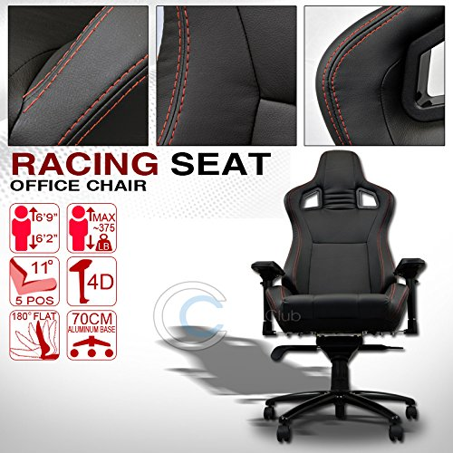 HS Power UNIVERSAL BLK w/RED STITCHES PVC LEATHER MU RACING BUCKET SEAT OFFICE CHAIR C01 (900 Series Quantum Chair compare prices)