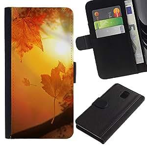 iKiki Tech / Cartera Funda Carcasa - Golden Brown Sun Sunset Leaves - Samsung Galaxy Note 3 N9000 N9002 N9005