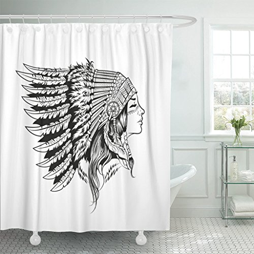 TOMPOP Shower Curtain Black Native American Indian Girl in National Headdress Cherokee Woman Waterproof Polyester Fabric 60 x 72 Inches Set with Hooks
