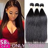 Alica Human Hair Weave Bundles Brazilian Virgin Hair Straight 3 Bundles 100% Unprocessed Human Hair 300g (12″ 12″ 12″, Natural Color)