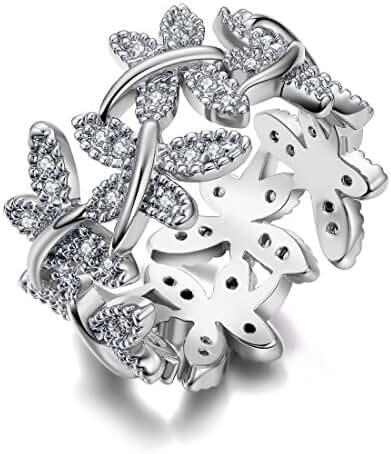 NEWBARK 10 Butterflies 18k Gold Plated Cubic Zircon Women's Rings Size 5.5 to 9