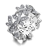 NEWBARK 10 Butterflies 18k White Gold-Plated Cubic Zircon Women's Rings Size 8