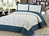 Beauty Sleep Bedding Luxury Embroidered 3 Piece Reversible Quilt Set, Turquoise Color, King Size