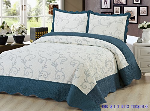 Beauty Sleep Bedding Luxury Embroidered 3 Piece Reversible Quilt Set, Turquoise Color, King Size by Beauty Sleep Bedding
