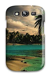 Cute High Quality Galaxy S3 Droopy Palms Palm Tree Tropical Sand Flower Water Ocean Digital Case