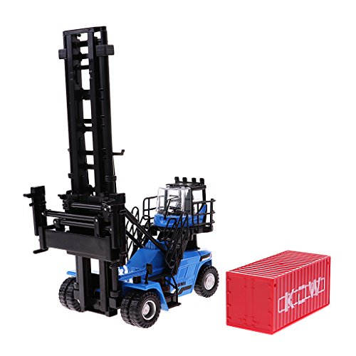 Perfk 1:50スケール モデル 空コンテナ スタッカー フォークリフト トラック模型 車おもちゃ ホーム インテリア 全2色 - 青