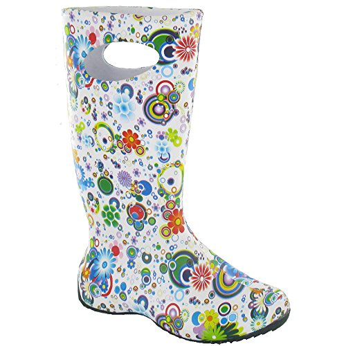 Ladies Circle womens Cotswold Carnival Cotswold Welly Wellington Green Flower Patterned Boot Rubber qPEBEdrw
