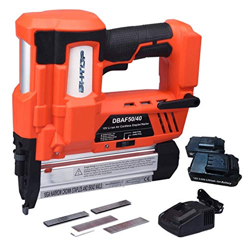 - BHTOP Cordless Nailer & Stapler- 2 in 1 18Ga Heavy Tool With 18Volt 2Ah Lithium-ion Rechargeable Battery(Charger and Carrying Case) (2 Batteries)