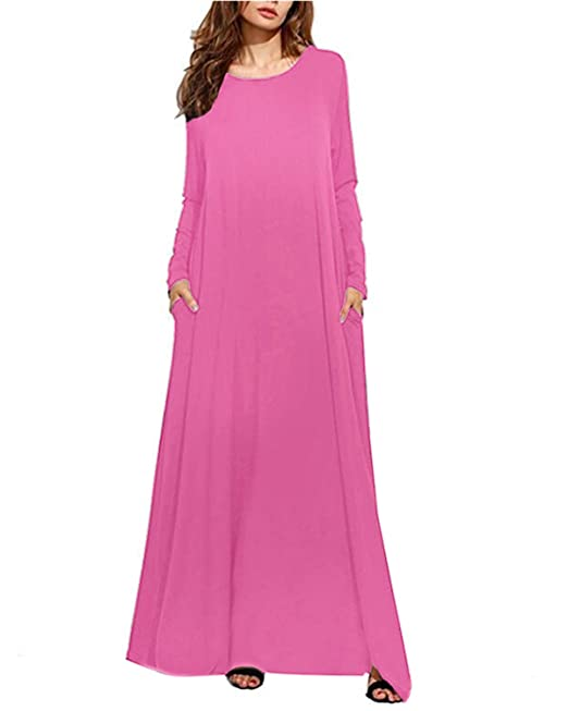 62bd1cec855 Kidsform Women Maxi Dress Long Short Sleeve Baggy Ball Gown Solid Pocket  Party Long Dresses Kaftan  Amazon.co.uk  Clothing